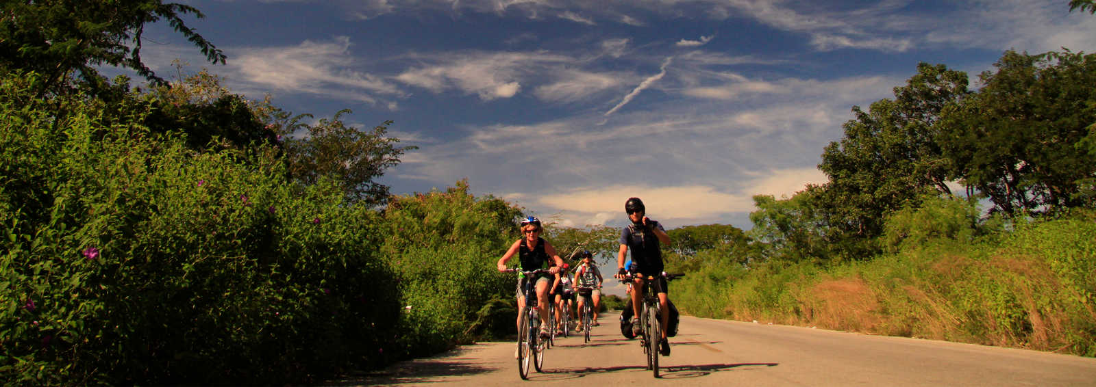Group cycling in the countryside of Yucatan, Mexico