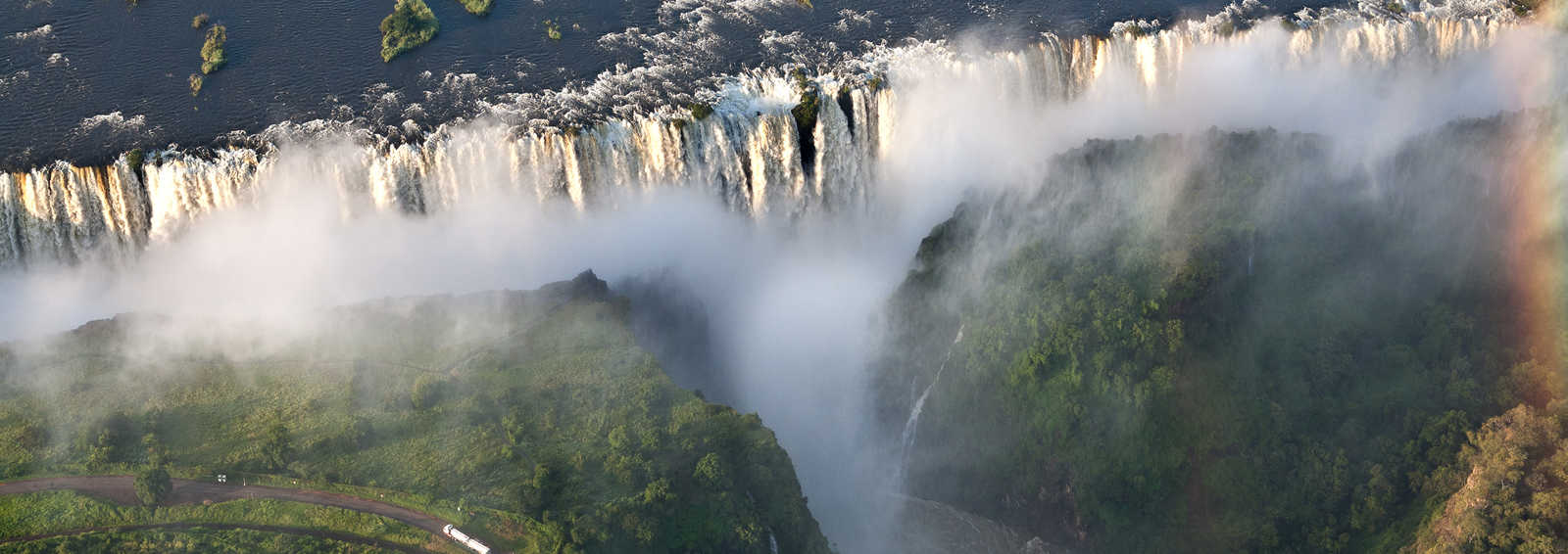 View of Victoria falls from a helicopter