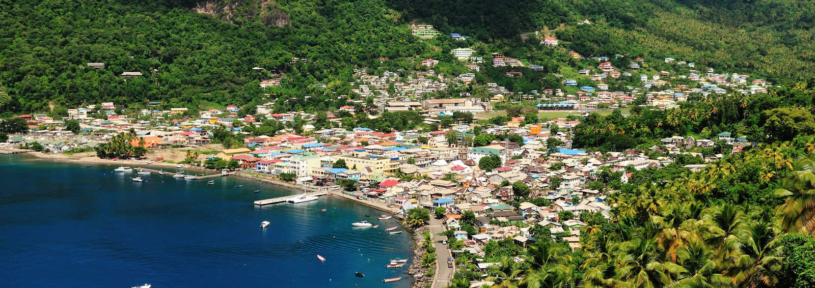 The vibrant coastal city of Soufriere, St. Lucia