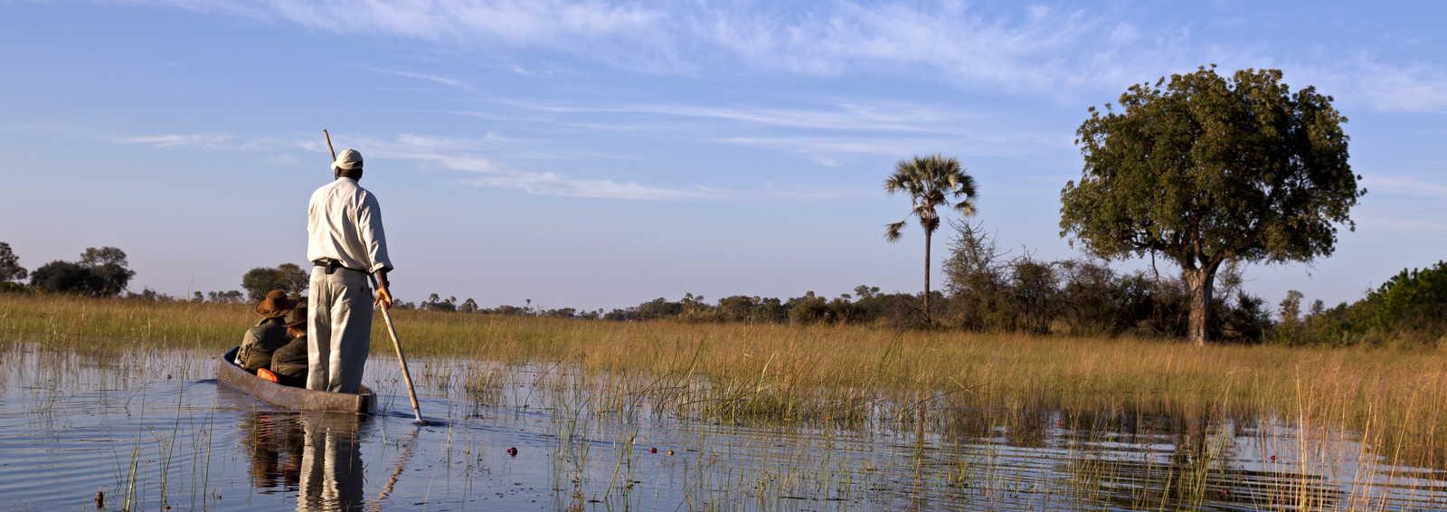 Dugout journey on the Okavango, Botswana