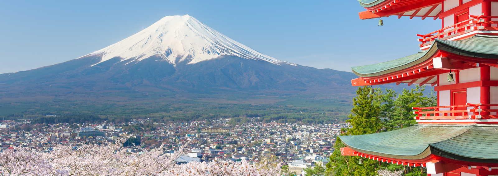 Red pagoda near Mt. Fuji, Japan