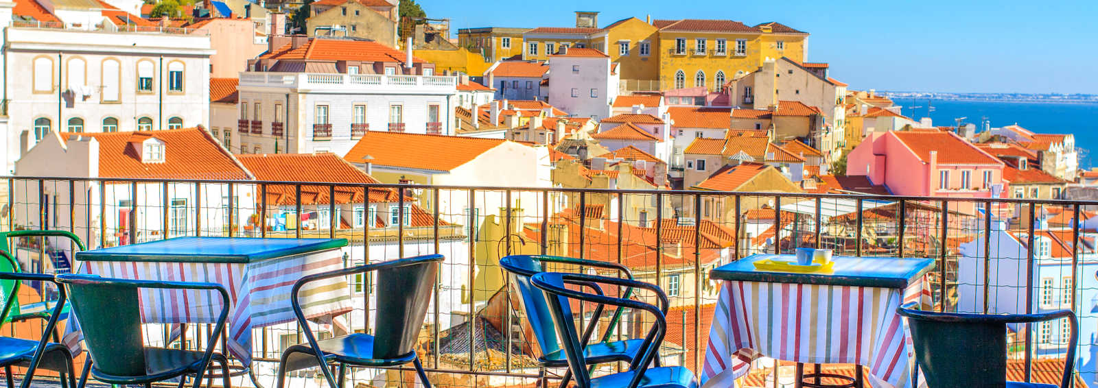 terrace with breathtaking view at Alfama - historical city-center of Lisbon, Portugal