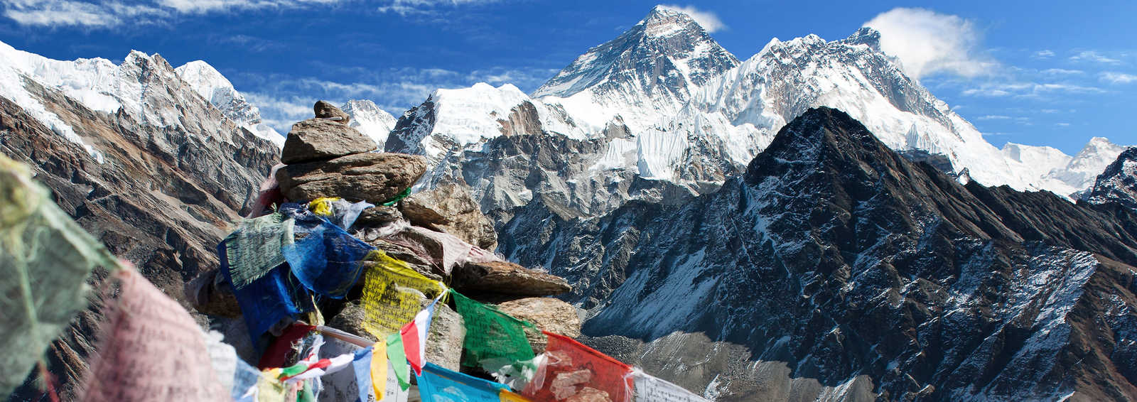 View of everest from Gokyo Ri with prayer flags, Nepal