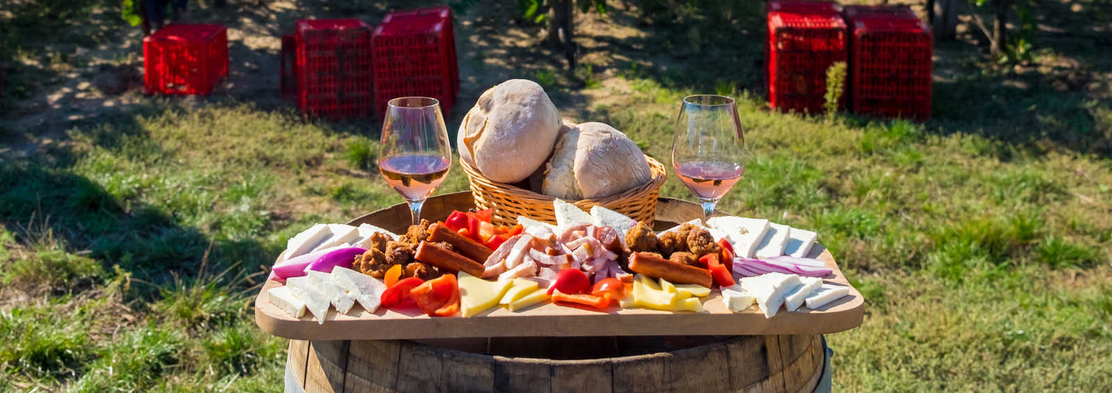 Harvesting season traditional Romanian food plate with cheese, bread, sausages, onions and red wine in glass in vineyards, on barrel