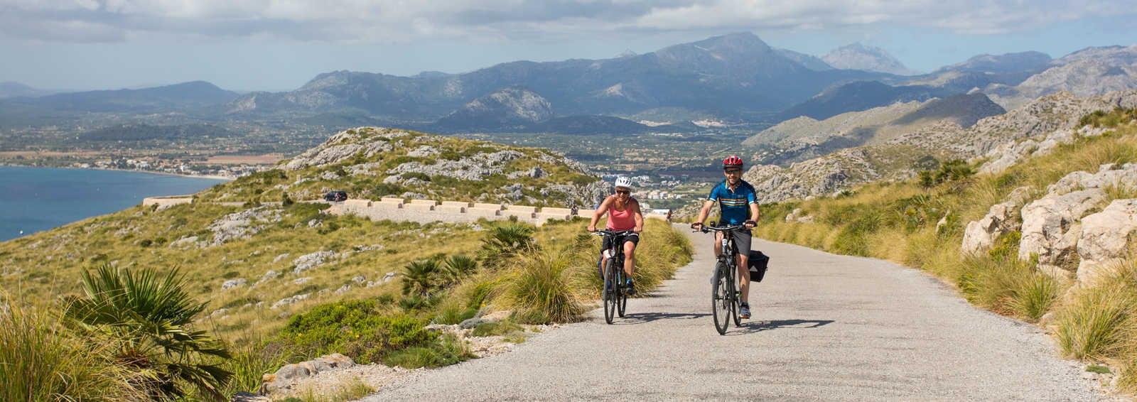 Cycling towards the Talaia d'Albercutx, Mallorca