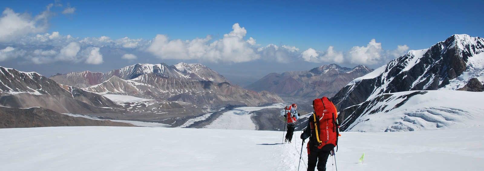 Descending from Lenin Peak