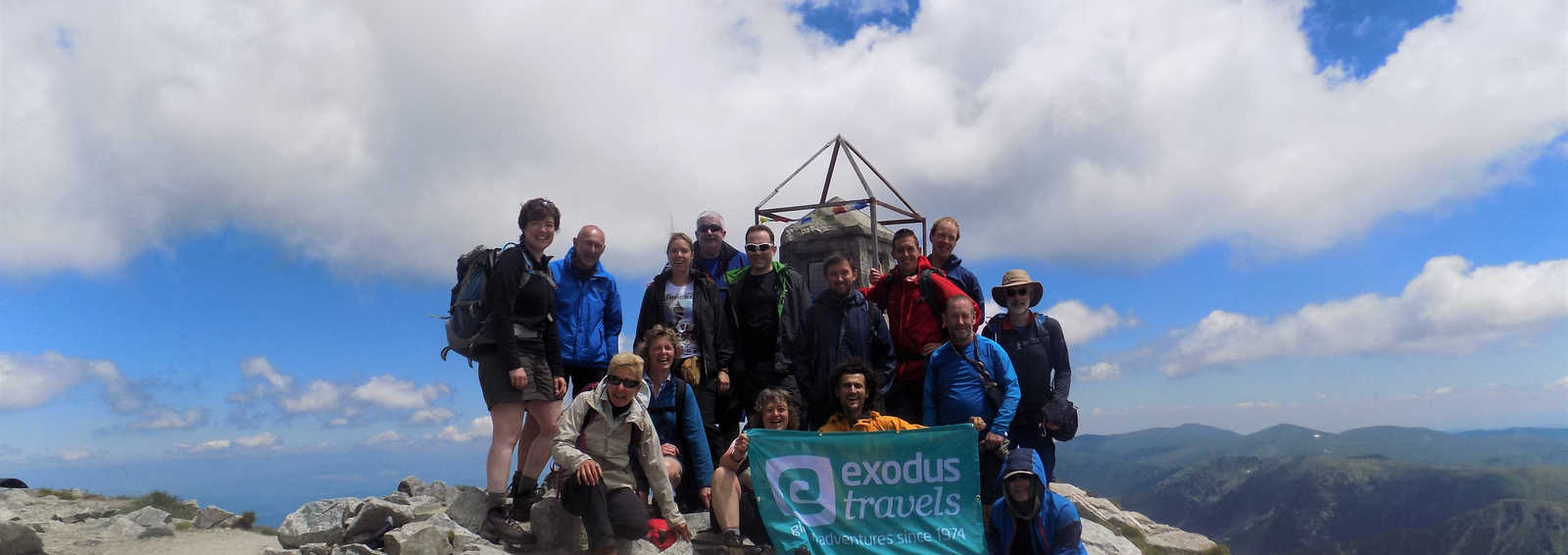 At the summit of Mount Musala 2925m, Bulgaria's highest peak