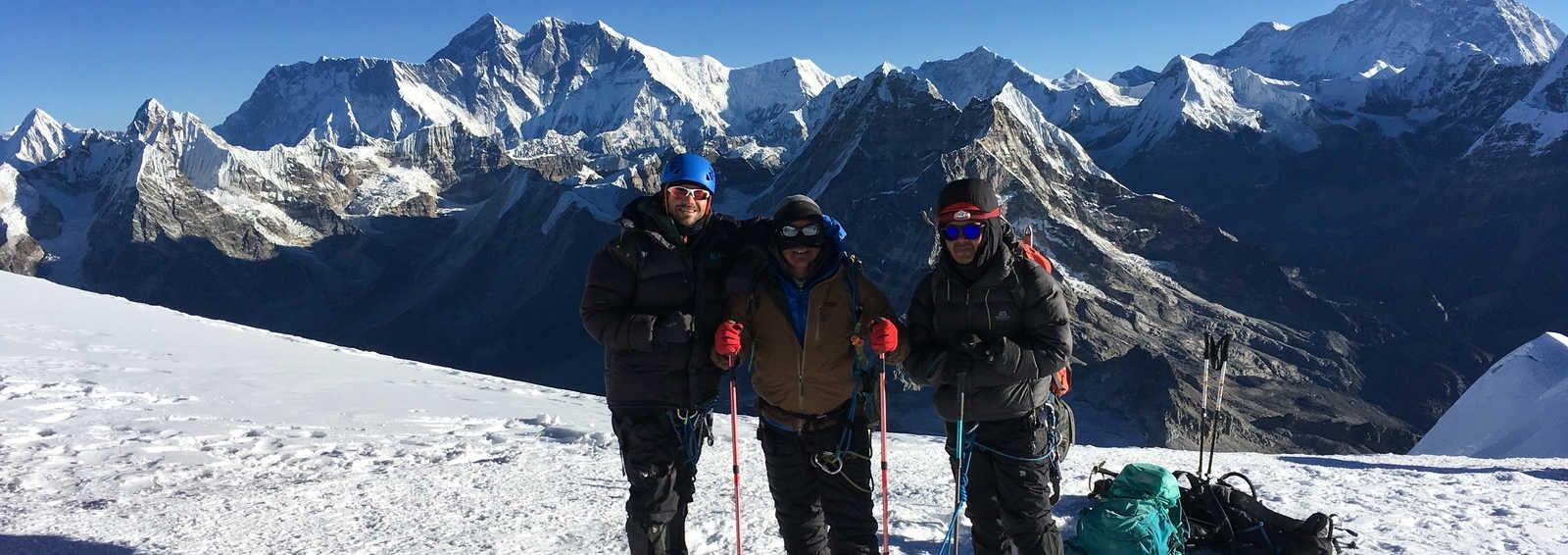 View of Everest from below Mera Peak's summit