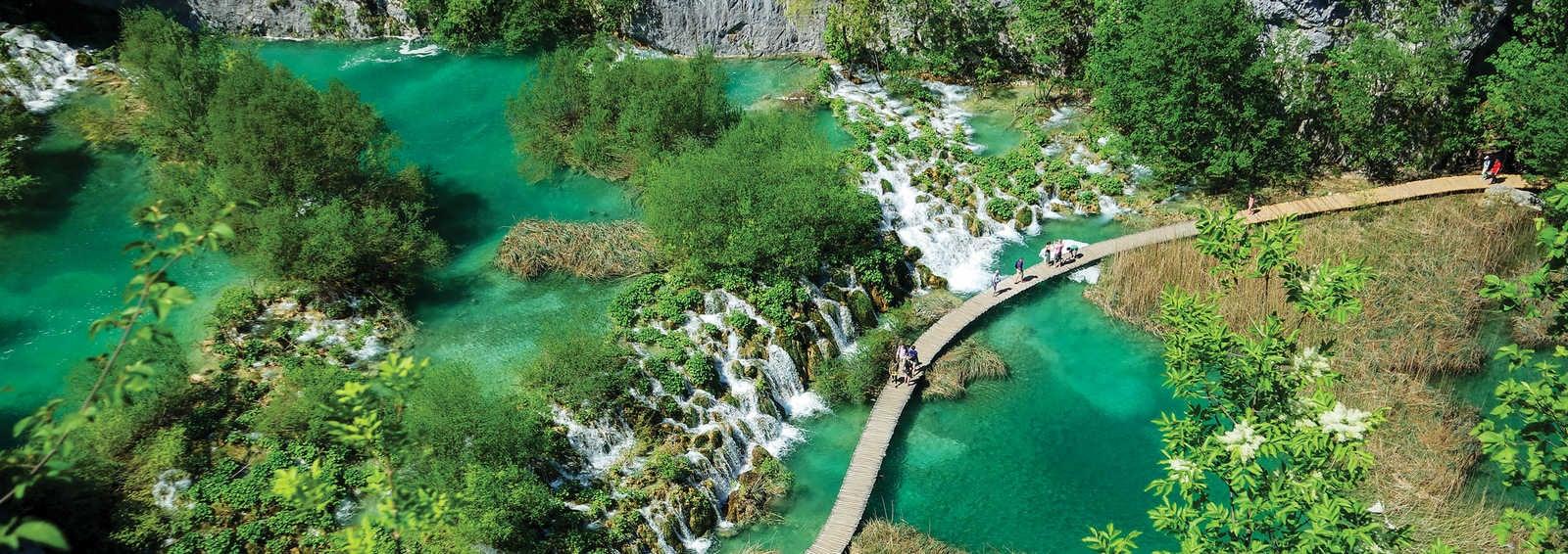 Waterfalls and walking trail, Plitvice Lakes National Park, Croatia