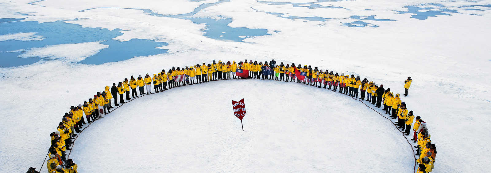 Human circle at the North Pole