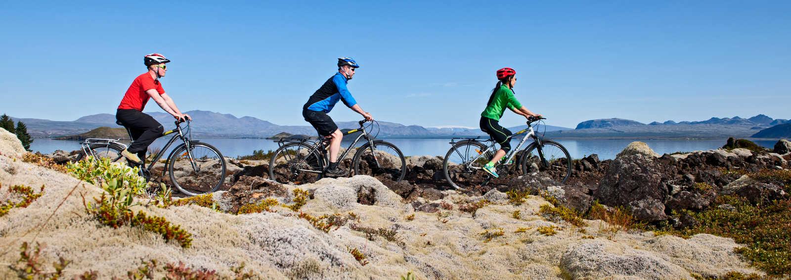 Cycling near Nesjavellir, southern Iceland