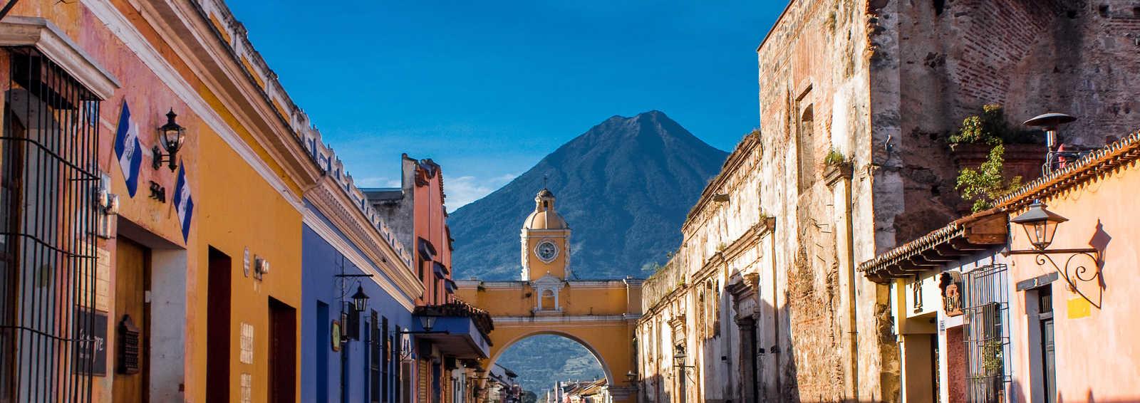 St Catarina arch and volcano Antigua, Guatemala