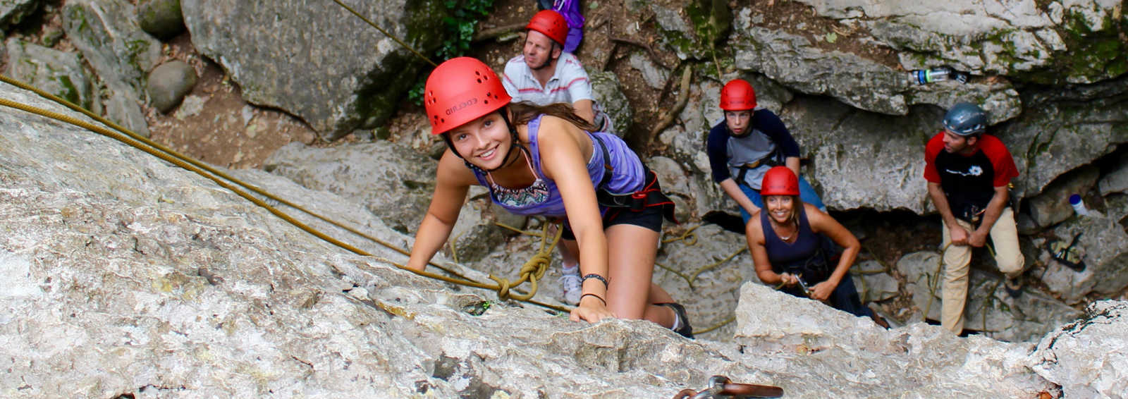 Exodus family group climbing in the Ardeche, France