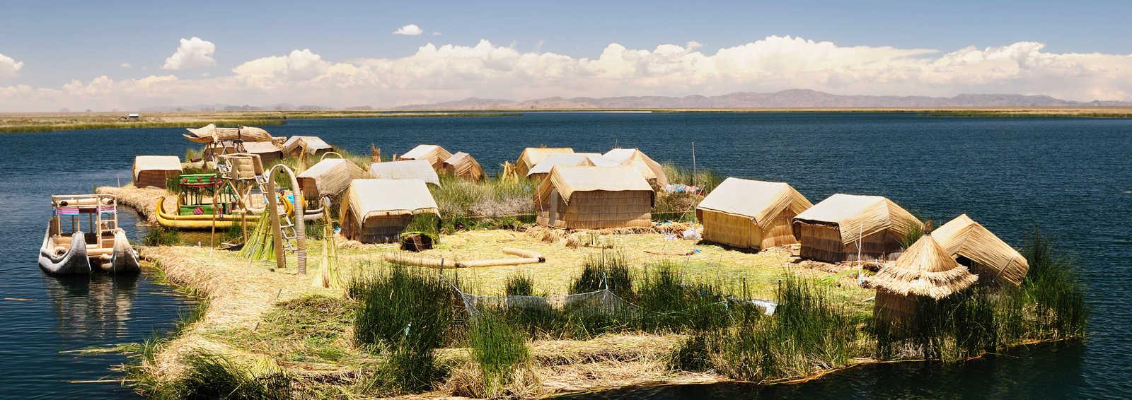 Floating reed islands, Lake Titicaca, Peru
