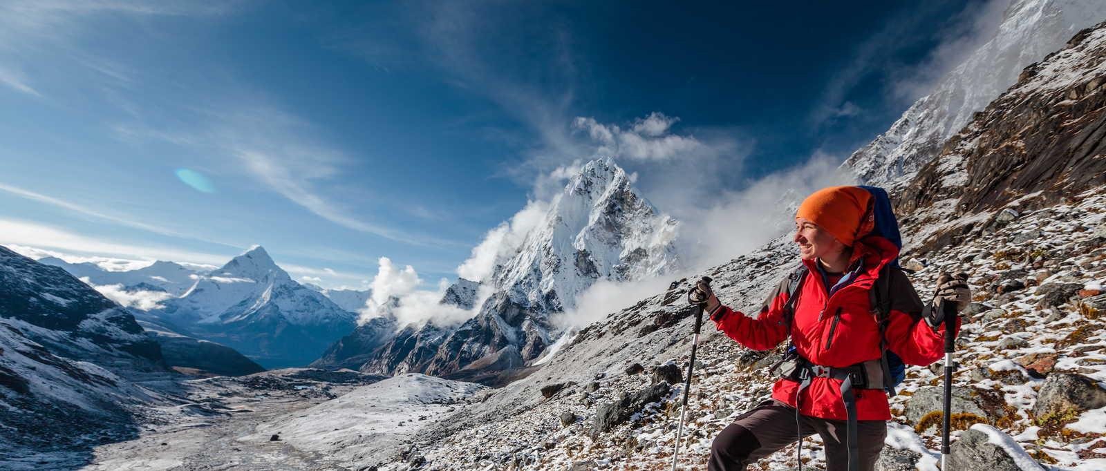 Trekker admiring the view, Nepal