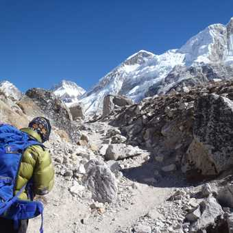 Following Lhakpa Gelu Sherpa on the route to Base Camp