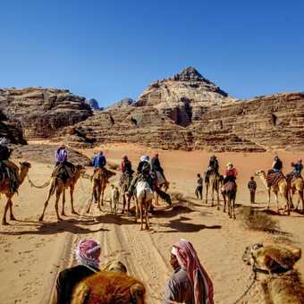 Wadi Rum on a back of a camel