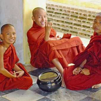 Young Buddhist Monks at a temple in Bagan