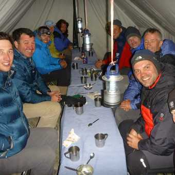 Inside the dining tent