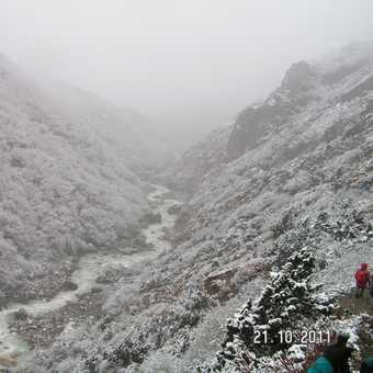 Snowy day coming down from Everest Base Camp