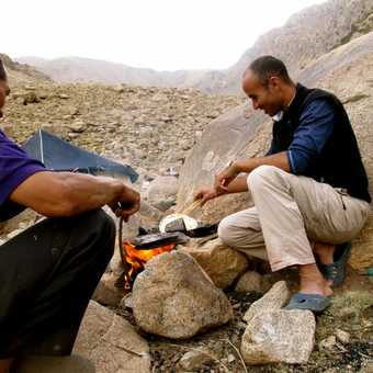 Our guide, Mohammed, and our chef Laissan making delicious bread