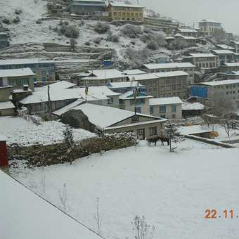 Waking up to snow in Namche Bazar