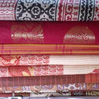 colorful material at the laundry in Cochin