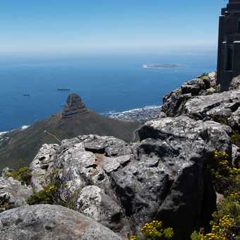 Lion Head and Robben Island from Table Mountain