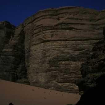 Moonlit rocks at the Bedouin camp in Wadi Rum