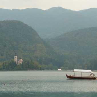 Day 7 - A rowing boat (Gondala style) crosses over Lake Bled