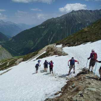 stepping down into Switzerland below Col de Balme