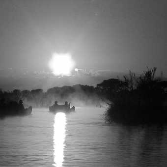 canoe in the mist