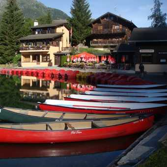 Canoes on Champex Lac