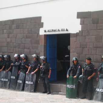 Riot police in Cuzco monitoring a strike