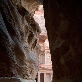 Petra - the first glimpse of the Treasury from the Siq