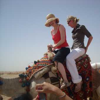 Izzy and Trish's camel ride