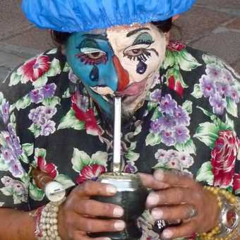 Clown drinking mate
