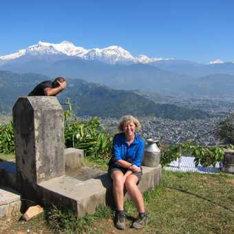 Welcome water break at top of hill out side Pokhara