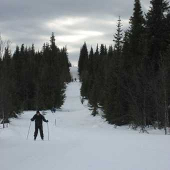 Skiing down to Oset