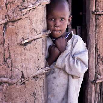 A Masai girl looks curiously at the camera