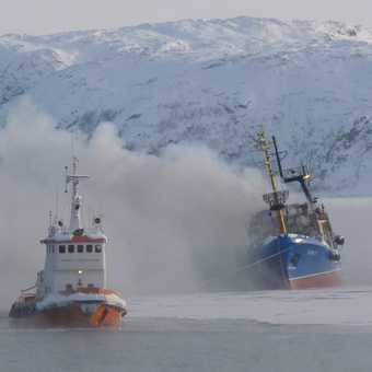 Burning Russian trawler
