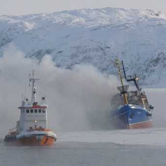 Burning Russian trawler