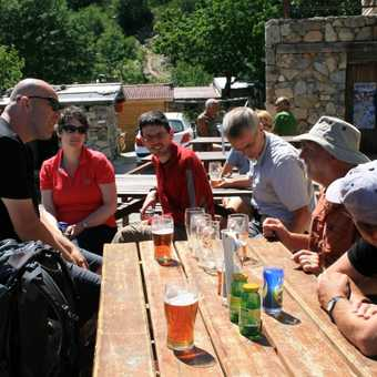 A well earned pint at Bergeries de Capannelle