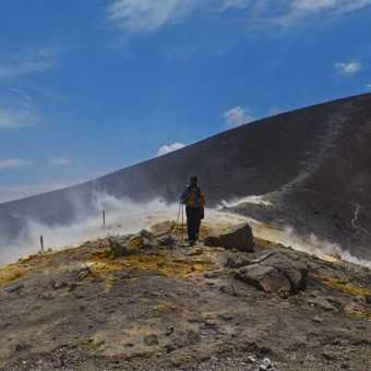 Walking across the fumaroles