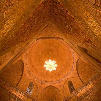 The beautiful gold leaf of the inside of Tamerlan's mausoleum in Samarkand