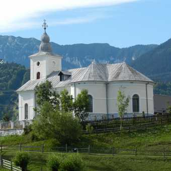 LOcal Church with Carpathian Mts in distance