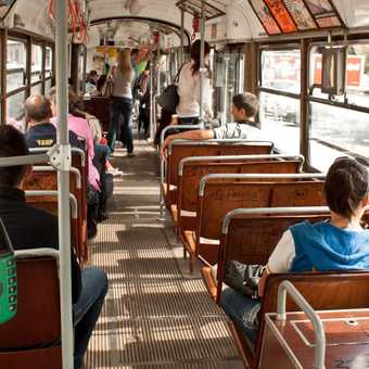 The inside of a tram in Sarajevo