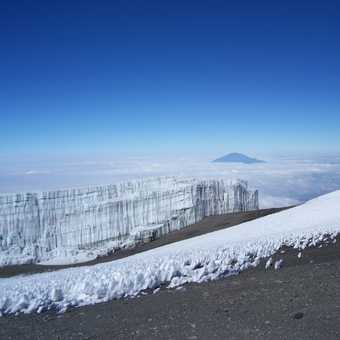 Near the summit of Kilimanjaro, high above the clouds