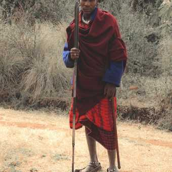 Masai on rim of ngorongoro crater