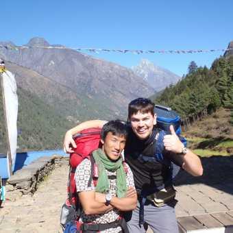 Me with Ngima Gellzen Sherpa, our trek leader